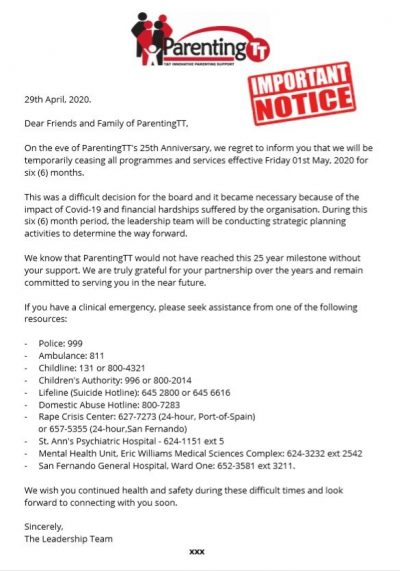 PTT Closure Notice
